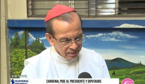 Cardenal pide al presidente y diputados no seguir en la polémica